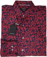 NEW $149 Bugatchi Long Sleeve Shirt Mens Shaped Fit Red Navy Floral Cerise NWT