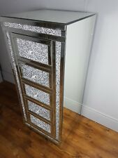 COTEMPORARY MIRRORRED TALLBOY GLITTER 5 DRAWER BEDROOM SILVER