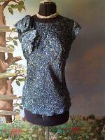 Ann Taylor Loft Blue Women Satin Cap Ruffle Sleeve Blouse Top  Size Medium