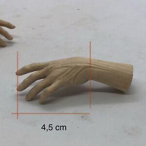 Un Paio Di Mani Legno Figura Uomo  per figure 4,5 Cm palmo dita restauro pastori