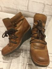 Women's Fly london Boots Brown Leather Wedge Boots Uk8 EU41