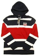 Polo Ralph Lauren Men's French Navy Chariots Striped Long Sleeve Hooded T-Shirt
