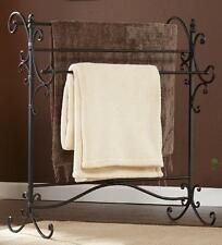 Blanket Rack Holder Iron Quilt Towel Display Stand Vintage Storage Home Black