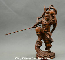 Collect Chinese boxwood wood hand carve Handsome Monkey King Sun Wukong Statue