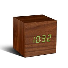 Gingko Cube Walnut Wood Effect Sound Activated Click Alarm Clock Green LED Gift