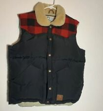 Men's Penfield Navy Puffer plaid vest Sz: L Down Winter Stapleton Vest