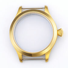 44mm Retro Pilot Gold watch Case Fit Men Watch ETA UNITAS 6497/6498 Movement