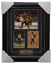 Usain Bolt Signed Jamaica Athletics Photo Collage Print Framed Olympic Champion