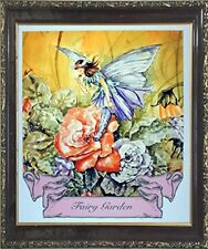 Fairy Garden Rose Mythical Mahogany Framed Picture Art Print (20x24)