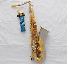 Professional Satin Nickel gold Tenor Saxophone High F# sax +Metal Mouth W/Case