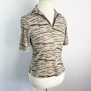 Jamie Sadock Golf Top Tiger Stripe Shirt Animal Print 1/4 Zip S/S Size XS