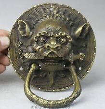 OLD  CHINESE ANCIENT DYNASTY FENG SHUI BRONZE FOO FU DOG LION HEAD DOOR KNOCKER