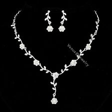 Bridal Flower Rhinestone Crystal Wedding Necklace Earrings Set N293