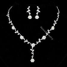 Bridal Flower Rhinestone Crystal Wedding Necklace Earrings Set N293