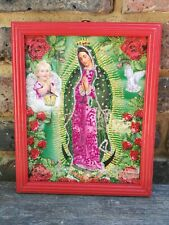 Authentic MEXICAN Virgin of Guadalupe Glittery Retablo Painting Icons Kitsch #13