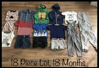 Toddler Boy Clothing Lot, 18 Months, 18 Items, Body Glove, TMNT, Carter's