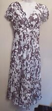 Phase Eight UK8 EU36 US4 brown and cream silk chiffon cap-sleeved belted dress