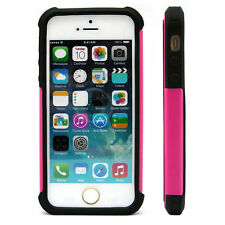 iPhone 5 5S SE Case Pink Black  Dual Layer Hybrid Protector Hard Case Cover