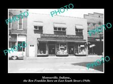 OLD LARGE HISTORIC PHOTO OF MONROEVILLE INDIANA, THE BEN FRANKLIN STORE c1940s