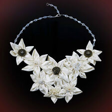 Statement Bridal Necklace V-Shaped Ivory Fabric Floral Daisy Clear Crystal Chain