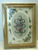 HARDANGER NORWEGIAN EMBROIDERY PINK, ROSE, & GREEN  MATTED & FRAMED