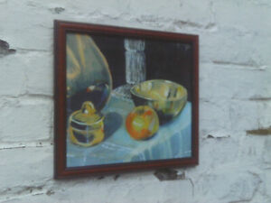 Vintage 1980s/90s Framed still life watercolour painting of Apple, Bowl etc