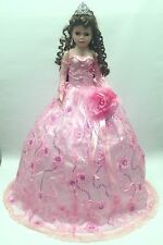 NEW Pink 28 inch My 15 XV Anos Quinceanera Sequin Porcelain Umbrella Muñeca Doll