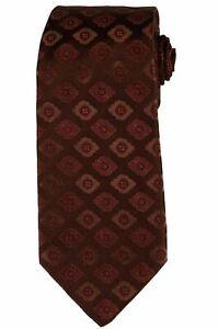 KITON Napoli Hand-Made Seven Fold Brown Flower Medallion Silk Tie NEW
