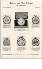 1938 PAPER AD Lyceum Elgin Railroad Waltham Pocket Watch Vanguard Maximus