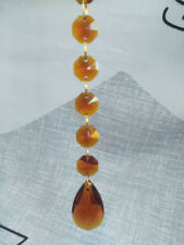 12 Hanging Amber Teardrop Crystal Glass Chandelier Prism Pendants Chain Garland