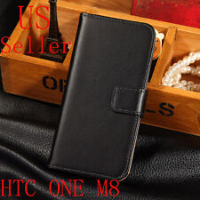 Black Luxury Leather Flip Card Wallet Case Stand Cover Skin For HTC ONE M8