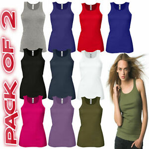 PACK OF 2 LADIES VEST WOMENS COTTON STRETCHY RIBBED T-SHIRT CAMI CASUAL TANK TOP