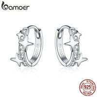 BAMOER Women Stud Stars Earrings Circle 925 Sterling silver With CZ Gift Jewelry