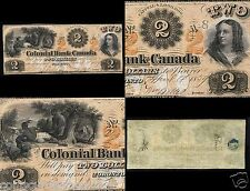 Colonial Bank of Canada $2 May  1859 Toronto ONE OF THE BEST $2 Banknote