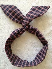 New Tartan Plaid Check Flannel Wire Twist Scarf Bunny Ears Headband