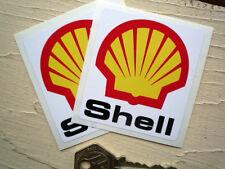 Paire de petites 58mm Shell voiture de course ou autocollants moto