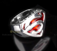 New Cool Silver Plated Red Enameled Superman Rings Nice Gift Size 9