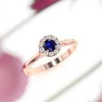 2.5ct Round Brilliant Cut Blue Sapphire Engagement Ring 14k Rose Gold Over Halo