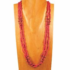 """25""""  Red Color Wood Glass Seed Bead Multi Strand Handmade Necklace"""