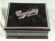 Antique Ebony Cigarettes Box with Silver Lettering and Lid Edge Trim