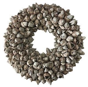 Kranz Naturkranz aus Kokos Frucht Knospen grau wash 40 cm