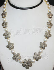 .925 Silver Wedding Anniversary Necklace 17.40ct Rose Cut Diamond Pearl