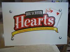 "Hearts Big Screen 16x10.5"" Laminated Foam Board Display Sign Card Room Poker"