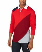 Club Room NEW Fire Red Blue Mens US Size XL Polo Rugby Colorblock Shirt $65 #101