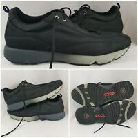 ECCO Black Suede Leather Oxford Walking Running Sneaker Lace Up Shoes Size 13