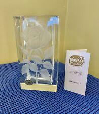 Atelier Veselous Bohemian Hand Engraved ROSE Czech Republic Crystal Vase Signed