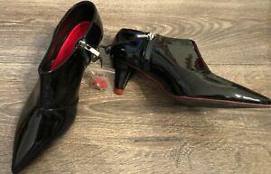 ZARA 6 NEW Point toe Black Patent leather bootie Low heel Zip shoe w Red detail