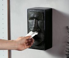 Easter Moai Face Statue Tissue Box Holder Case Vintage Wall Home Decoration