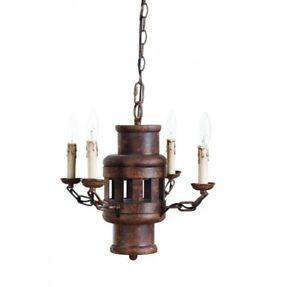 Industrial Creative Co-op Iron Chandelier Lighting 4 Arm Rust Finish DE7492