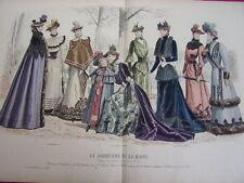 """76/ GRAVURE DE MODE """" Moniteur de la Mode Paris 1891 """".   Grand format 36x52"""
